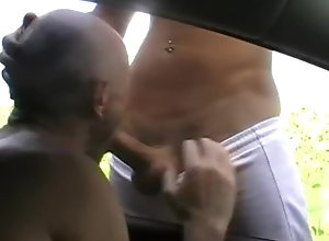 exhjib;sex-in-car;outdoor,Twink;Muscle;Blowjob;Gay;Rough Sex;Tattooed Men fucked outdoor in...