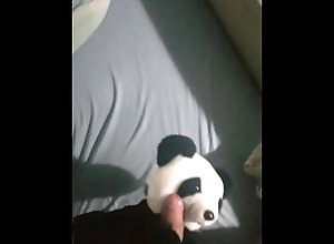 bear;masturbation;cum;cock;panda;jerk-off;guy;toys;plushie;teddy;puppet,Solo Male;Gay helpfull panda