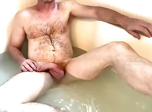 ginger;hairy-chest;curved-dick;bath;muscle-stud;silver-daddy;hung-hunk;dilf;wet-fuck;bathroom;bath-house,Daddy;Muscle;Solo Male;Big Dick;Gay;Bear;Amateur;Mature;Cumshot Soaking in the...